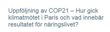 NMC:s och Fores arrangerar ett frukostmöte om COP21