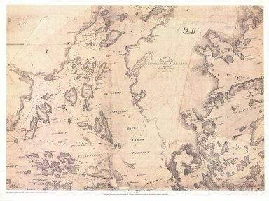 Gammalt sjökort över Saxarfjärden och Ljusterö.