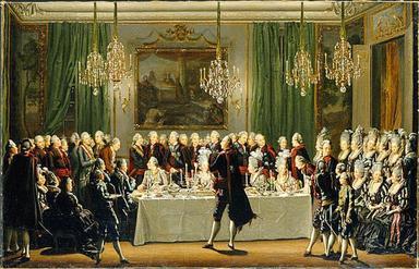 Gustav III:s matsal. Målning av Pehr Hilleström.