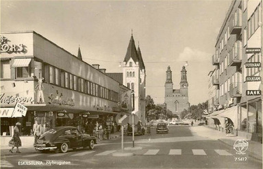 Nybrogatan i Eskilstuna på 1950-talet.
