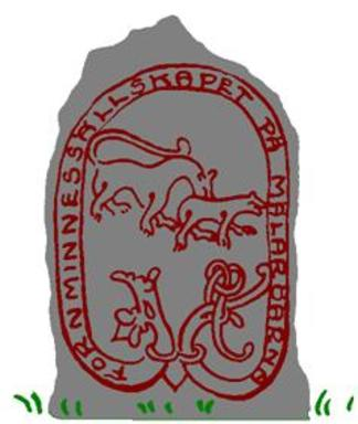 Fornminnessällskapets logotyp, Svartsjöstenen som förebild